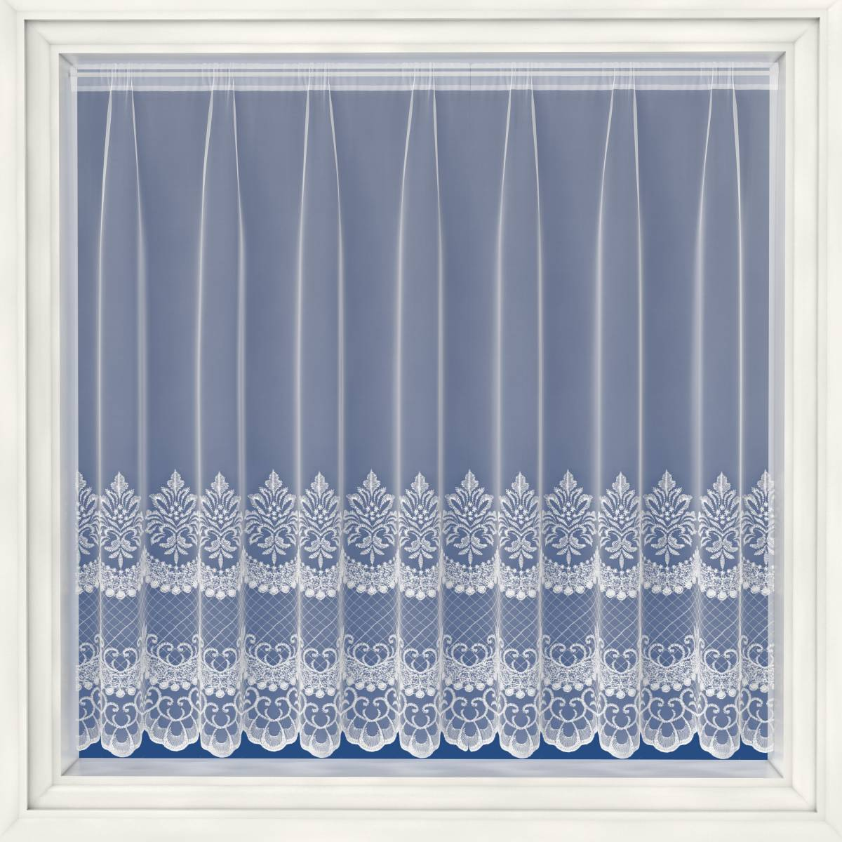 Cambridge White Embroidered Voile Net Curtain Net Curtain 2 Curtains
