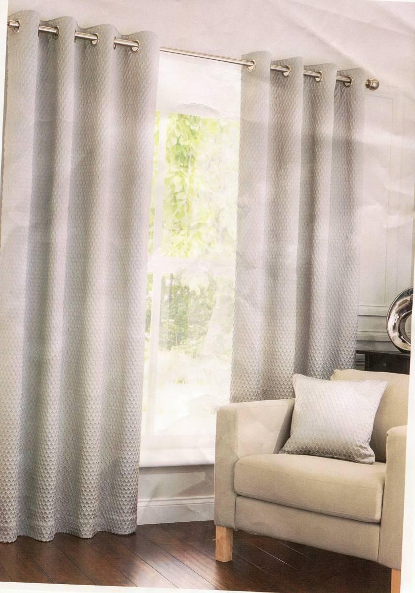 Harrow Oatmeal Eyelet Top Curtains