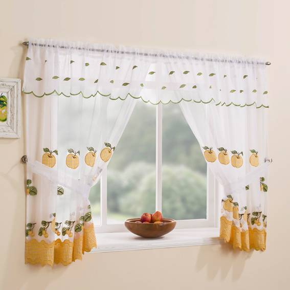 Wareham Yellow Window With Attached Valance Net Curtain 2 Curtains