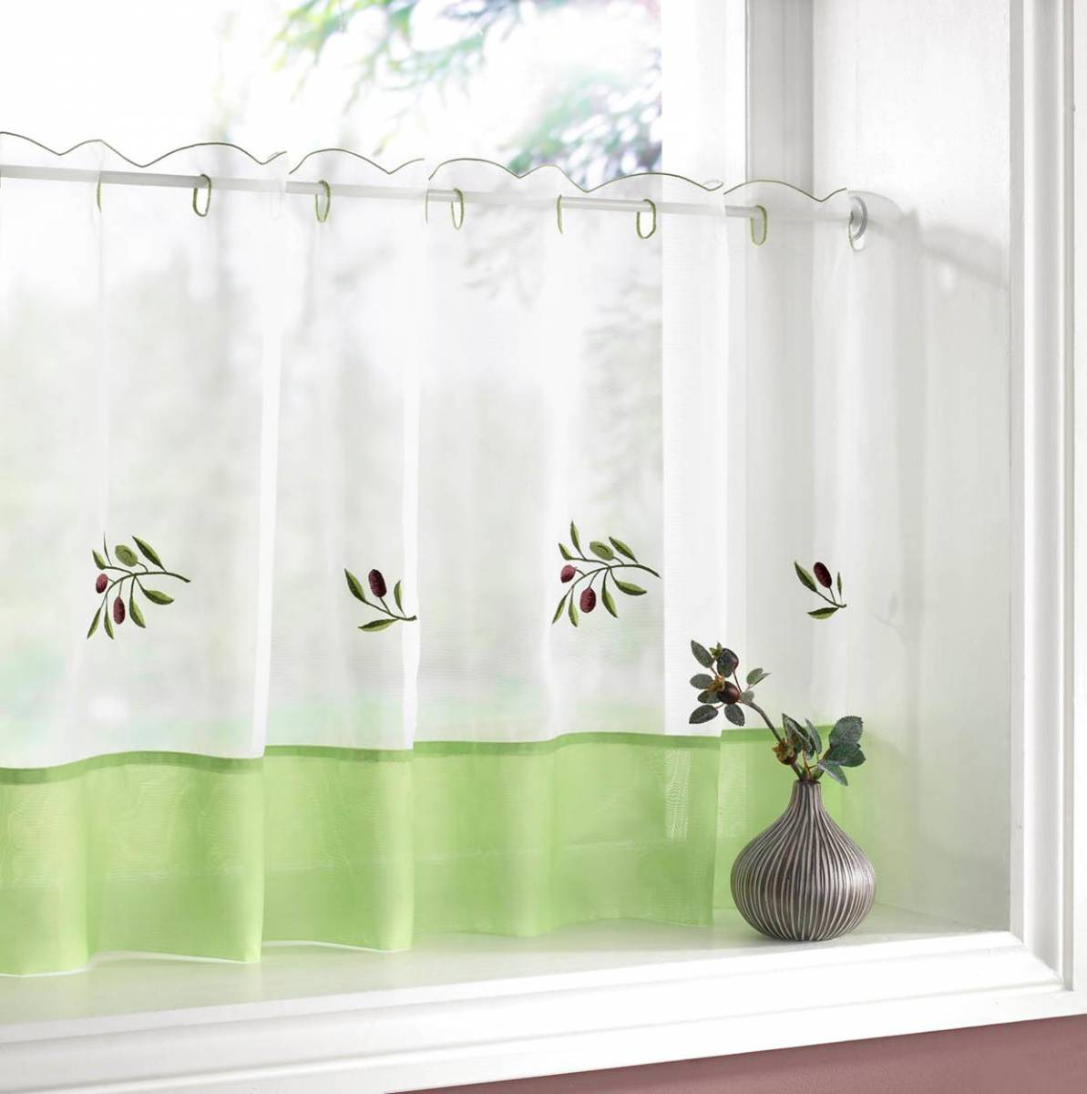 Olives Kitchen Textiles Range Net Curtain 2 Curtains