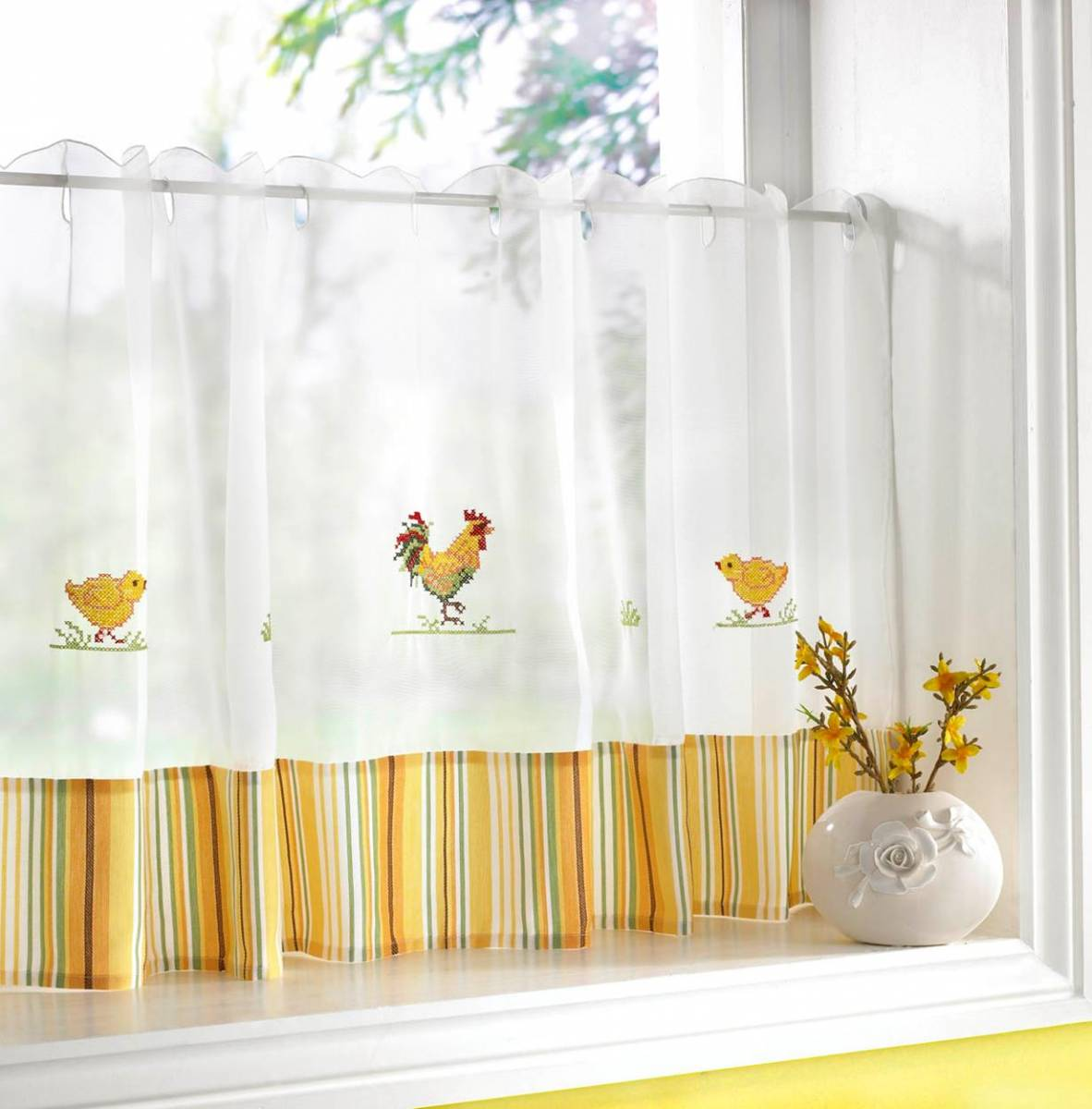 Chickens Cafe Curtain Width 60 Net Curtain 2 Curtains