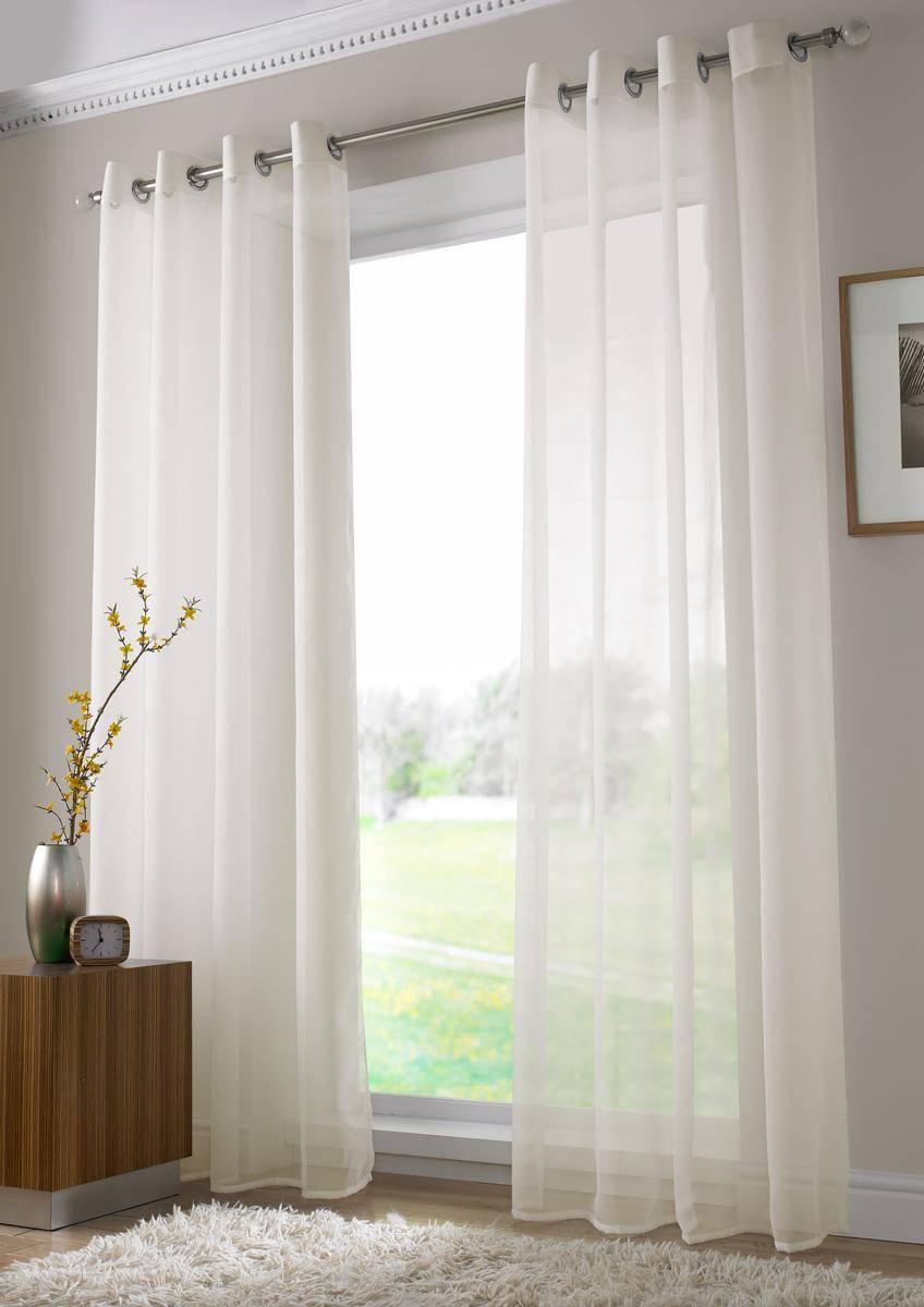 Ivory Plain Voile Eyelet Ringtop 150cm Net Curtain 2