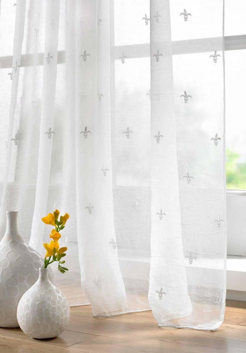 fleur de lys cream panel net curtain 2 curtains. Black Bedroom Furniture Sets. Home Design Ideas