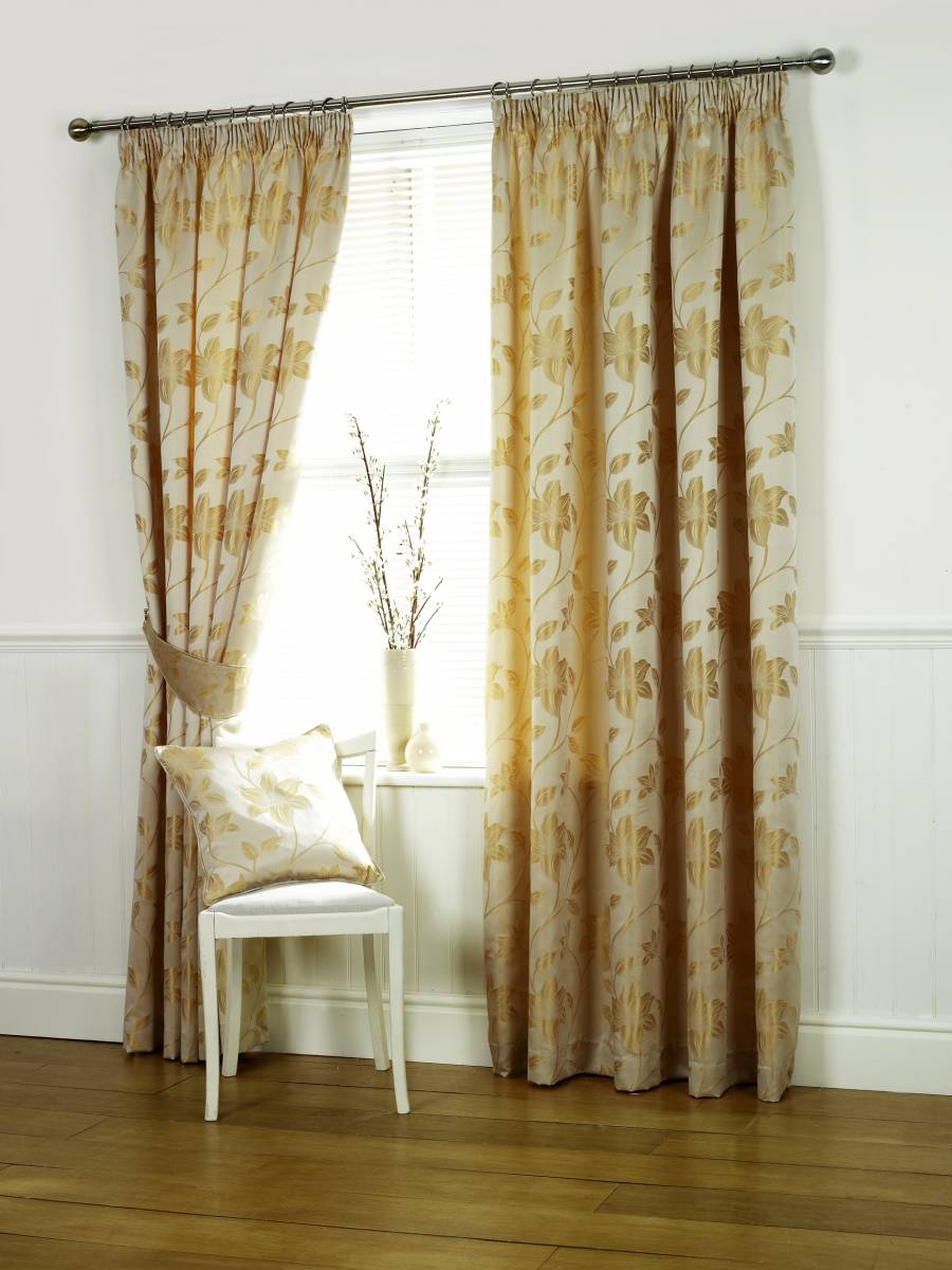 Oriental Natural Lined Curtains Net Curtain 2 Curtains