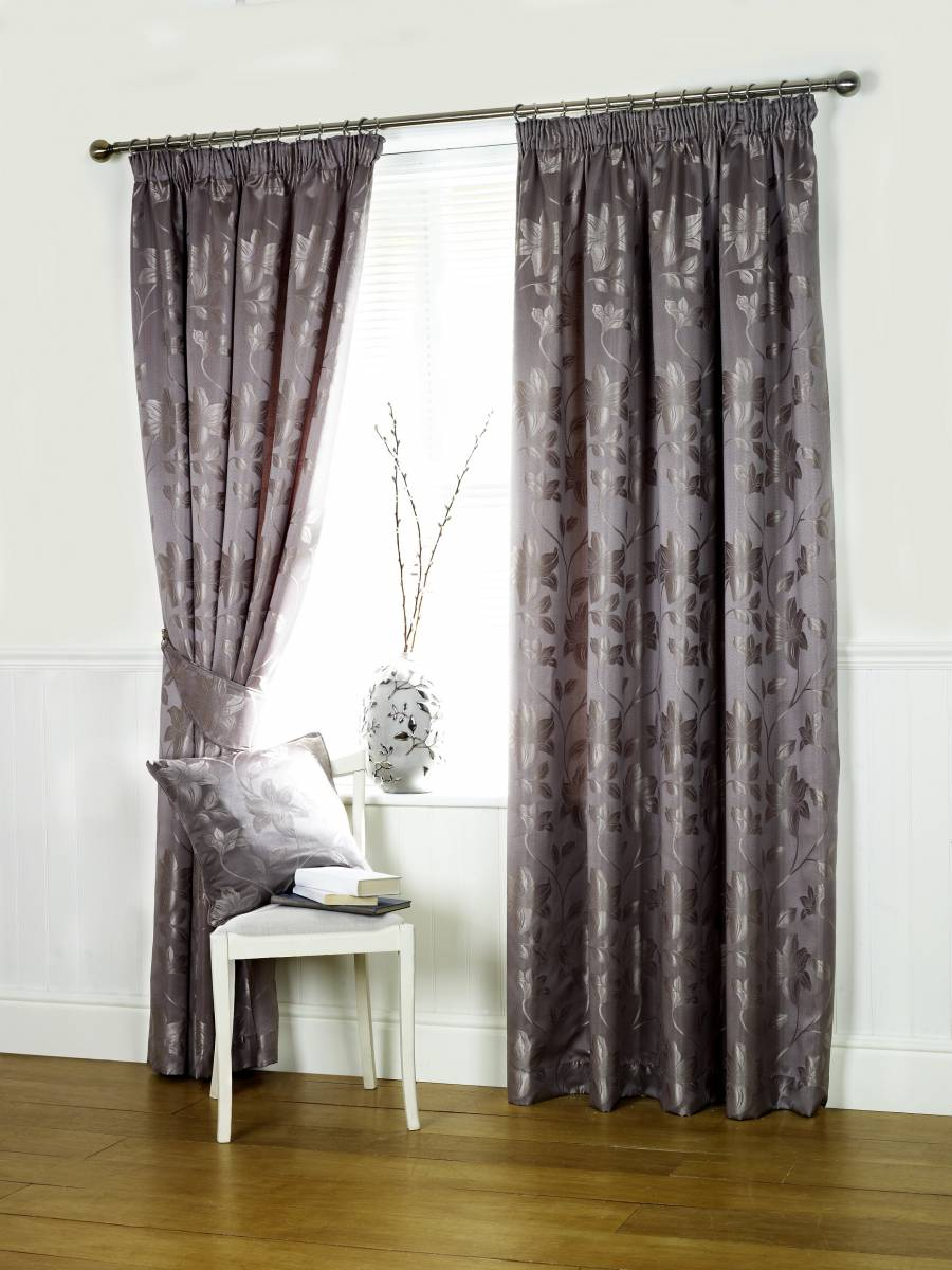 Oriental Pewter Lined Curtains Net Curtain 2 Curtains